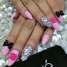 Pink Chanel Stiletto Nails with Swarovski Crystals by laqué nail bar @laquenailbar Instagram photos