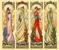 Four seasons art nouveau