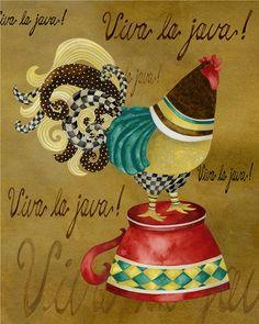 Art Print 11 x 14. Gourmet coq Viva La Java par studiopetite, $22.00