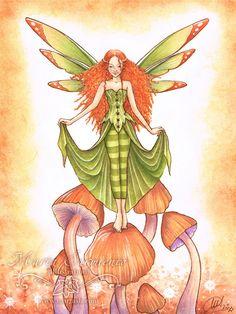 Green and orange fairy art