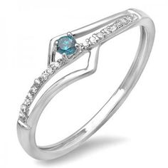 Share and get $20 off your order of $100 or more. 0.10 Carat (ctw) 18k White Gold Round Blue And White Diamond Wave Ladies Bridal Promise Engagement Ring 1/5 CT - Dazzling Rock #https://www.pinterest.com/dazzlingrock/