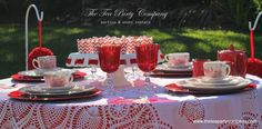 San Valentine's tea party. GORGEOUS!!!! Red Satin Linen Lace Overlays Red Toile China Red Glassware All for rent @ The Tea Party Company