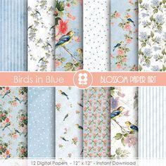Blue Digital Paper, Birds Digital Paper Pack, Blue Birds, Scrapbooking, VIntage Scrapbook - INSTANT DOWNLOAD  - 1937