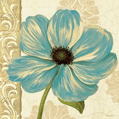 <br> Garden Fete Turquoise Square I <br> Flower Pictures, Fabric Painting, Watercolor Flowers, Painting Inspiration, Flower Art, Art Decor, Canvas Art, Art Prints, Artwork