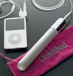 It's a vibrator, but, it goes with the rhythm/beat of whatever you are listening to. Ohhhh! Me likey!