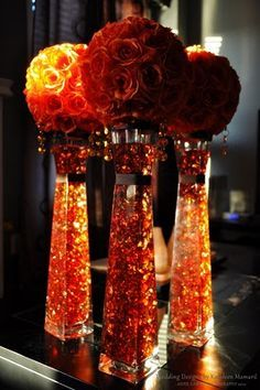 Autumn Centerpieces Copper Aluminum Wire In The Vases And Copper Pins In The Roses Wedding