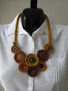 Originals handmade crochet necklace from 100% cotton decorated with different beads.    Material: cotton    Thanks for looking