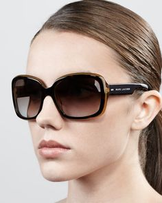 Thick-Rim Rectangle Sunglasses by Marc Jacobs at Bergdorf Goodman.