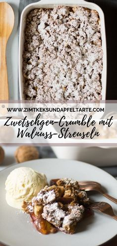 Autumn crumble or plum crumble with walnuts- Herbst-Crumble oder Zwetschgen-Crumble mit Walnüssen Wonderful autumn crumble – crystal sugar free and … - Plum Crumble, Fall Recipes, Sweet Recipes, Fall Desserts, Dessert Recipes, Fall Cakes, Healthy Cake, Snacks, Sweets