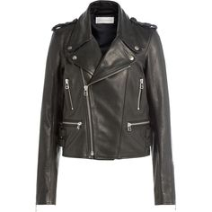 Faith Connexion Leather Biker Jacket ($1,909) ❤ liked on Polyvore featuring outerwear, jackets, black, leather rider jacket, cropped moto jacket, fitted motorcycle jacket, cropped motorcycle jacket and moto jackets