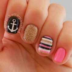 Shellac nails inspiration for summer nails nails, shellac na Anchor Nail Designs, Anchor Nail Art, Nautical Nail Designs, Beach Nail Designs, Get Nails, Fancy Nails, Love Nails, Pink Nails, Shellac Nails