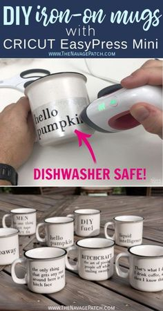 DIY Iron-On Mugs with Cricut EasyPress Mini You're too tired in the morning, so let your mug do the talking! Say it with style using dishwasher-safe DIY iron-on mugs made with Cricut EasyPress Mini! Cricut Ideas, Cricut Tutorials, Cricut Project Ideas, Pot Mason Diy, Mason Jar Crafts, Bottle Crafts, Vinyle Cricut, Silhouette Cameo 4, Silhouette Machine