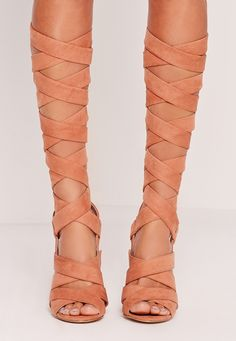 Missguided - Strappy Wrap Around Block Heel Sandal Pink