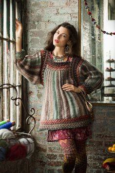Cornelia Tuttle Hamilton's #9 Folkloric Tunic.  She's designed for Noro for years and I love her approach to knitting even if I don't always want to wear her creations.