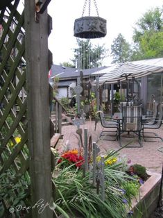 old keys and wind chimes, crafts, gardening, The wind chime hanging near the courtyard