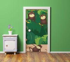 Hanging Monkeys Door Mural Custom Wall Murals, Vinyl Doors, Door Murals, Metallic Paint, Monkeys, Kids Bedroom, Wall Decor, Fun, Painting