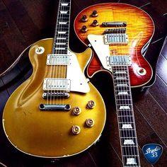 Gibson Les Paul Guitars: Goldtop or Burst finish? Guitar Art, Music Guitar, Guitar Chords, Cool Guitar, Playing Guitar, Guitar Room, Guitar Pics, Guitar Painting, Art Music