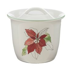 Vintage Block Poinsettia Jam/Jelly/Honey Pot & Lid, Fine China Dinnerware Christmas Gifts - Watercolors, Goertzen, Red Poinsettia, Portugal by PlumsandHoney on Etsy