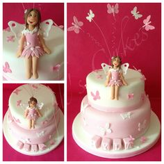 Christening cake with butterflies and a little fairy keepsake topper. Butterfly Cakes, Butterflies, Novelty Cakes, Christening, Fairy, Birthday Cake, Baking, Desserts, Handmade