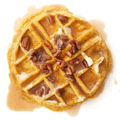 Pumpkin Waffles with Maple Pecan Cream. Our pumpkin waffle recipe, topped with maple-pecan cream, will make your entire home smell like fall. Subtle spices ensure that these easy pumpkin waffles will become a breakfast favorite. Brunch Dishes, Breakfast Dishes, Brunch Recipes, Sweet Recipes, Breakfast Recipes, Sweet Breakfast, Mcdonalds Breakfast, Quinoa Breakfast, Brunch Food