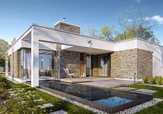 wd p 75 Modern Tiny House, Small House Design, Modern House Design, One Floor House Plans, Affordable Prefab Homes, One Storey House, Flat Roof House, Bali House, Modern Pools
