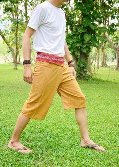 Yellow-Orange Thai Fisherman Pants Short 3/4 with Thai hand woven fabric on waist side, Wide Leg pants, Wrap pants, Unisex pants