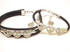 Mother and Daughter Black leather and Rhinestone hearts Bangles, Bracelets, Black Leather, Hearts, Daughter, Trending Outfits, Unique Jewelry, Handmade Gifts, Etsy