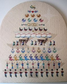 12 Days of Christmas in Needlepoint Partridge in a Pear Tree Pie Twelve Days Of Christmas, Christmas Cross, Kids Christmas, Cross Stitch Embroidery, Hand Embroidery, Cross Stitch Patterns, Christmas Embroidery, Painting Patterns, Crossstitch