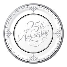 25th Silver Anniversary Wedding Paper Dessert Plates