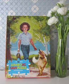 Vintage Children's Puzzle with a Boy and a Dog Illustration by Clair L Fry, made by Jumbo Holland 60s door Vantoen op Etsy