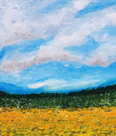 """ARTFINDER: """"Golden Meadows"""" by Lucy Moore - An overcast meadow of gold.  I hope you enjoy this piece as much as I enjoyed painting it.  This piece comes ready to hang with no need to frame.  The ..."""
