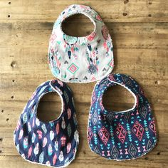 Super cute bibs navy pink tribal feathers by JonahNJane on Etsy
