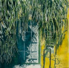 """palm window harbur rd bda 22"""" x 22"""" micheal zarowsky / watercolour on arches paper / (private collection)"""