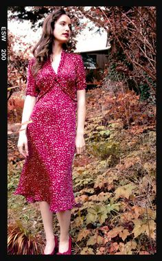 Sable midi dress in Ruby Heart print - location shot
