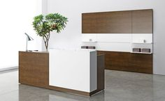 Shop our high quality Modern Reception Desks designed for today's Contemporary Workplace including Curved Reception Desks, White Reception Desks, Reception Counters and the latest design trends in Reception Area Furniture. Contemporary Office Chairs, Modern Office Design, Office Furniture Design, Office Designs, Office Decor, Curved Reception Desk, Reception Desk Design, Reception Desks, Reception Furniture