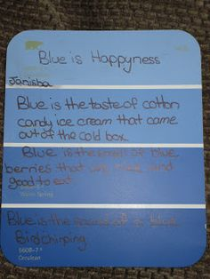 Paint chip poetry. Great for middle school grades! The blog explains all steps to take as well as includes a prewrite graphic organizer.