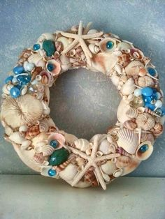 Beachy Sea Shell Nautical Decor Wreath with by BeachBasket on Etsy, $55.00