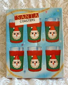 $12.95~~~I love these!!!  Vintage Mid Century Dan Dee Imports Japan Mint Santa Clause 6 pc Coaster Set