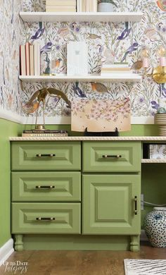 Update your vinyl or laminate cabinets with a no-prime, no-sand, no-wax paint in beautiful boutique colors for a stunning and easy makeover. Green Painted Furniture, Distressed Furniture Painting, Cool Furniture, Guest Room Office, Office Decor, Best Cabinet Paint, Beautiful Home Gardens, Laminate Cabinets, Cool Paintings