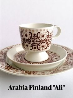 """Arabia Finland """"Ali"""" trio (coffee cup, saucer and cake plate) now added to the shop! www.etsy.com/MidsummerMood Vintage Pins, Vintage Books, Etsy Vintage, Vintage Items, Antique Collectors, Antique Stores, Music Jewelry, Retro Home Decor, Freaking Awesome"""