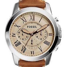 Grant Chronograph Light Brown Leather Watch #fossil latest fav watch