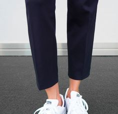 Navy trousers & stan smith