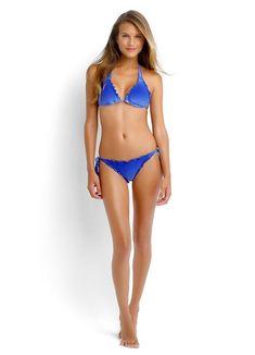 NEW Seafolly Miami Slide Tri Top Twist Hipster Bikini Set Lapis Blue Size 12