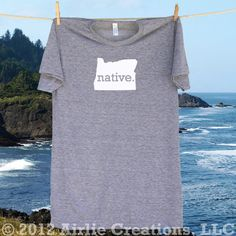 Oregon Home State NATIVE T shirt -more shirt and logo colors available. $22.95, via Etsy.