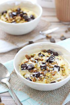 Pistachio and Dark Chocolate Polenta with Mascarpone Drizzle | cookiemonstercooking.com