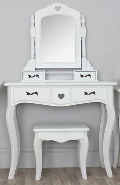 Valentine Scandi White Dressing Table Swing Mirror with Drawers Stool Set