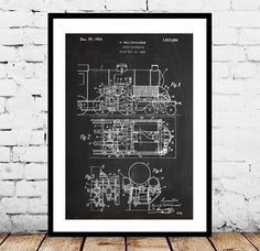 Train Locomotive Patent, Train Locomotive Poster, Train, Locomotive Print, Train Locomotive Art, Train Blueprint, Train Decor by STANLEYprintHOUSE  0.79 USD  This is a vintage patent print.  This poster is printed using high quality archival inks, and will be of museum quality. Any of these posters will make a great affordable gift, or tie any room together.  Please choose between different sizes and colors.  These posters are shipped in  ..  https://www.etsy.com/ca/listing/2392721..