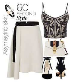 """Asymetrical flared skirt"" by freshdee on Polyvore featuring Alexander McQueen, Nine West, Gucci, asymmetricskirts and 60secondstyle"