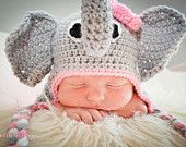 Elephant Earflap Beanie Hat with Pink by JustBecauseBowtique