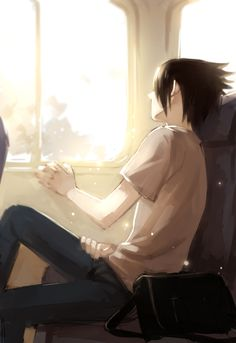 Sasuke is thinking in a train <3